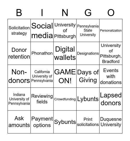 University of Pitt - Bingo 2019 Bingo Card