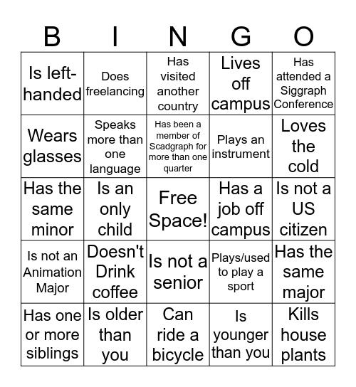Scadgraph Human Bingo  Bingo Card