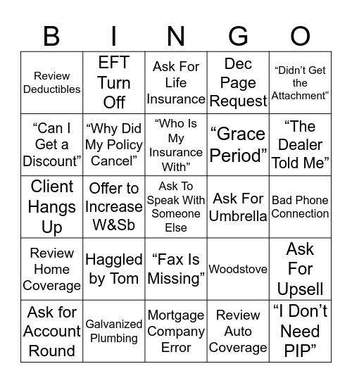 Insurance Bingo! Bingo Card