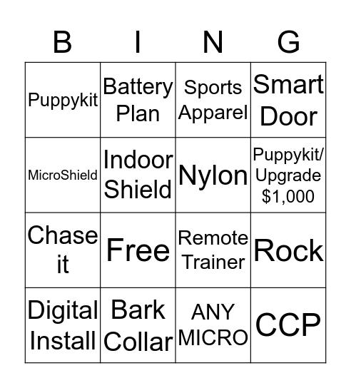 IF Bing Bingo Card