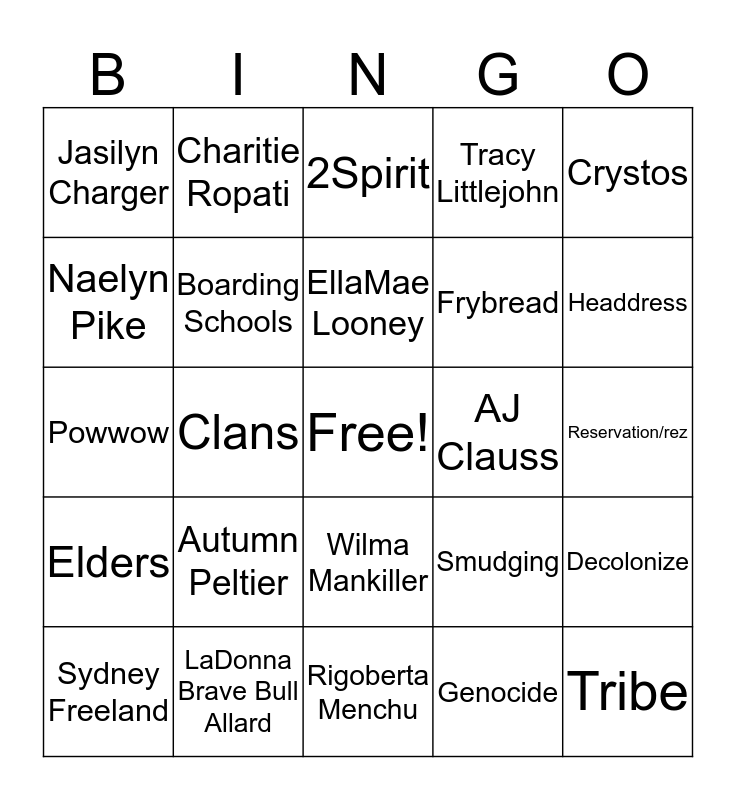 Indigenous Culture Bingo Card