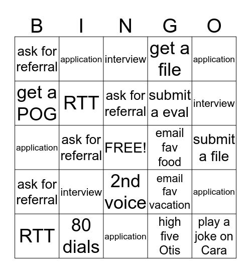 Thursday Bingo Card