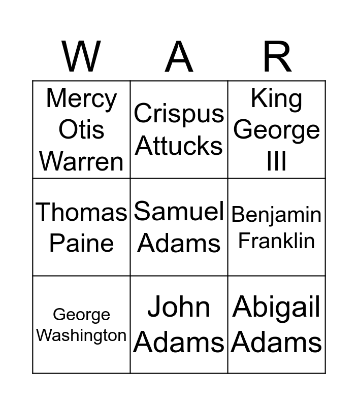People Who Lead to the American Revolution Bingo Card