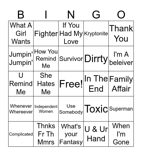 2000s Hits Bingo Card