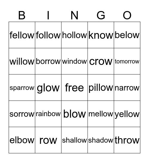 Long Vowels: 'ow' = /o/ Bingo Card