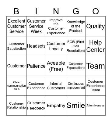 Customer Service Week 2019 Bingo Card