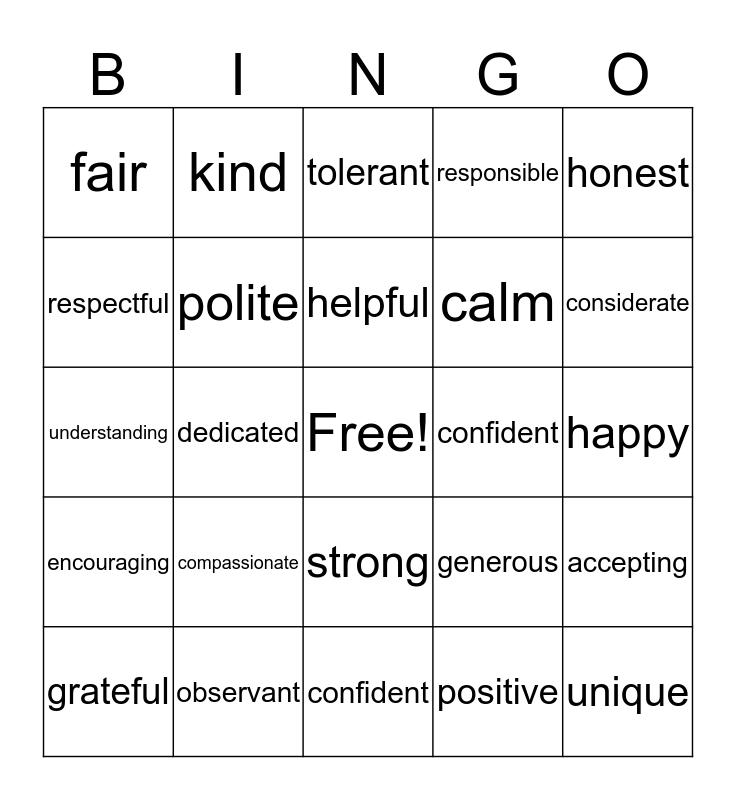 I  Am ... Bingo Card