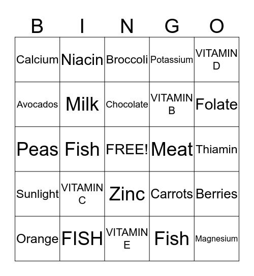 Vitamin and Mineral Bingo Card