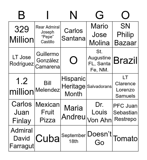 Hispanic Heritage Bingo Card