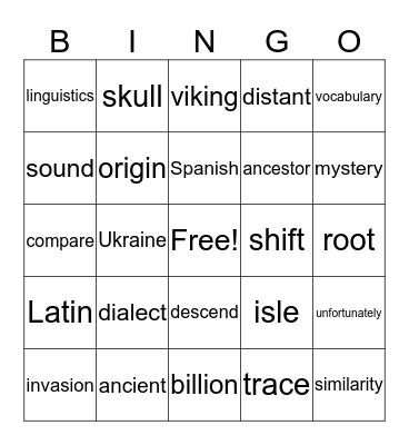 English language Bingo Card