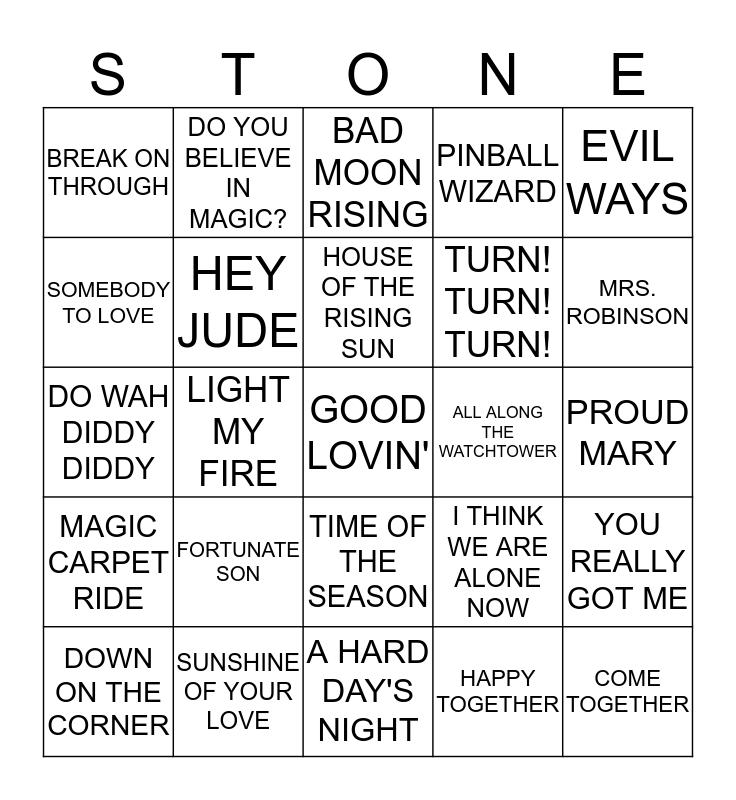 60'S ROCK Bingo Card