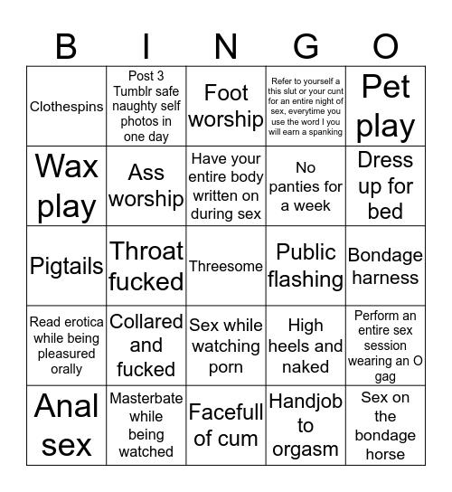 Kink BDSM Bingo Card
