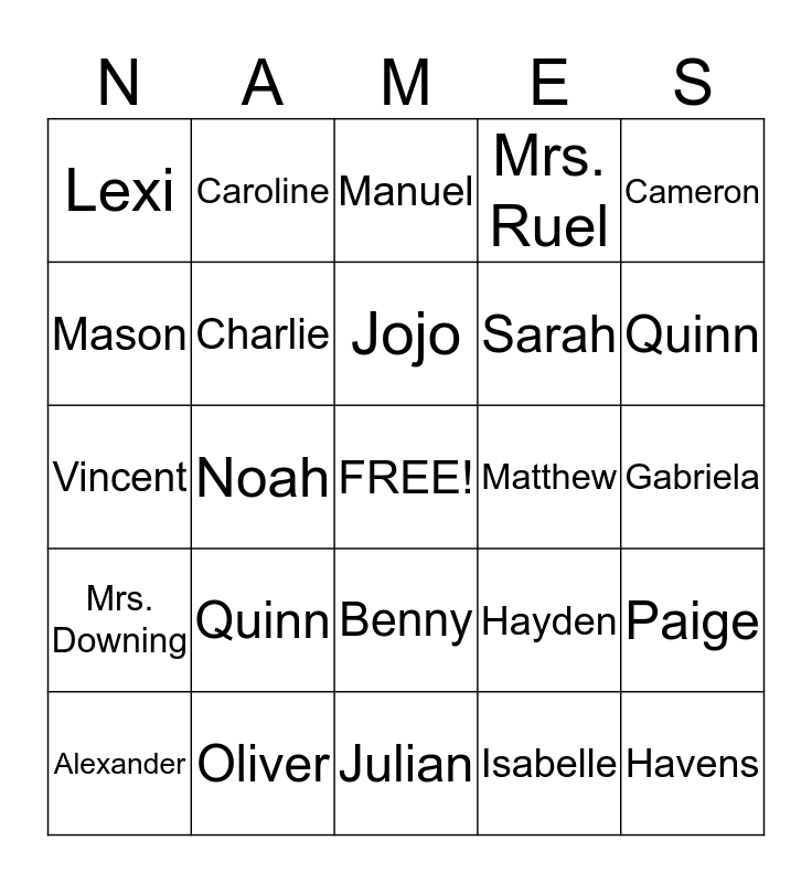 Mrs. Downing's Kindergarten Class Bingo Card