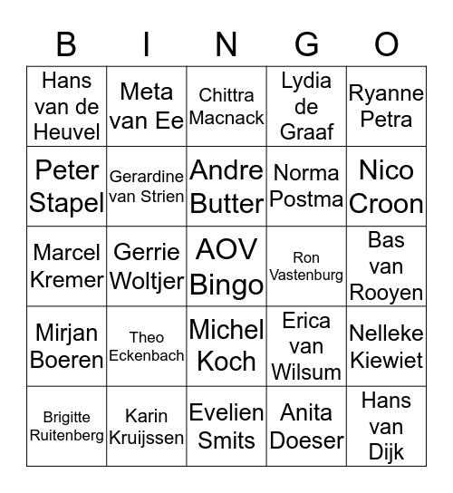 AOV Bingo Card