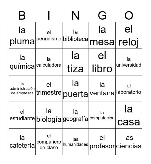 Lesson 2 Bingo Card