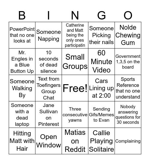 Toe Fingers Class Bingo Card