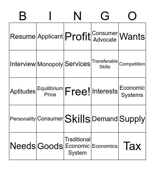 Consumer Economics Bingo  Bingo Card
