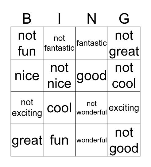 It was fun! Bingo Card