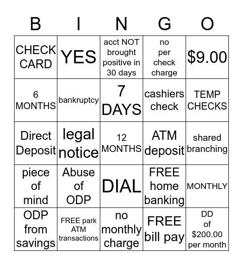 NEXT STEP CHECKING Bingo Card