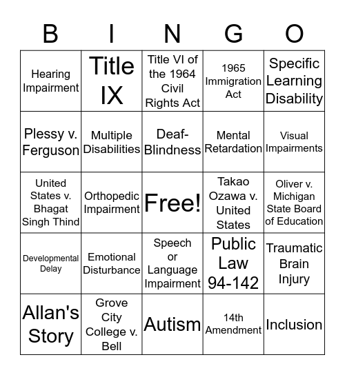 Equality of Educational Opportunity Bingo Card