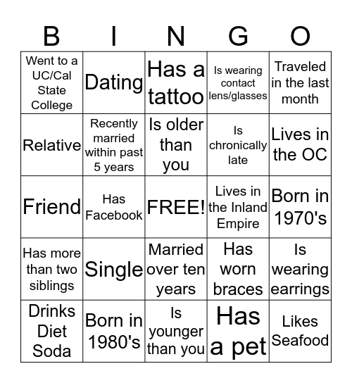 Get to know each other  Bingo Card