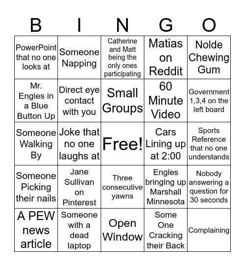 Toe Fingers Bingo Card