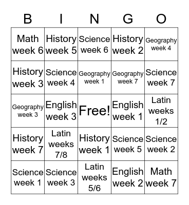 Cycle 2 Weeks 1, 2, 3, 4 (minus T) Bingo Card
