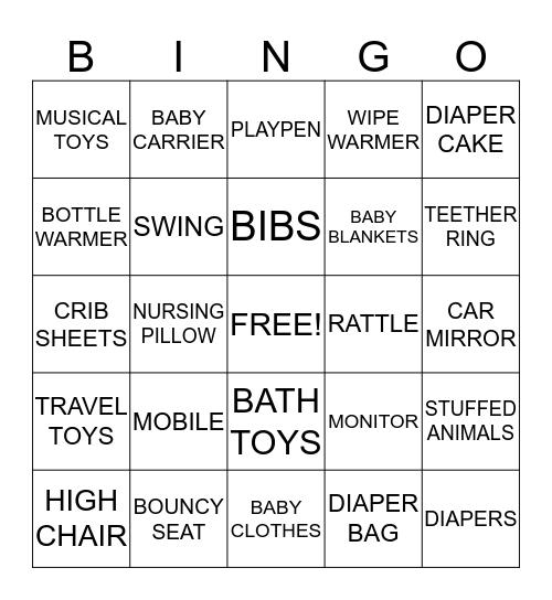 Baby Shower Bingo! Bingo Card