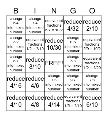 FRACTION Bingo Card