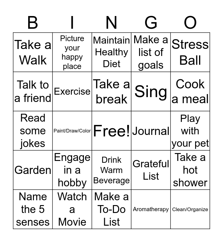 Coping Skills Bingo Card