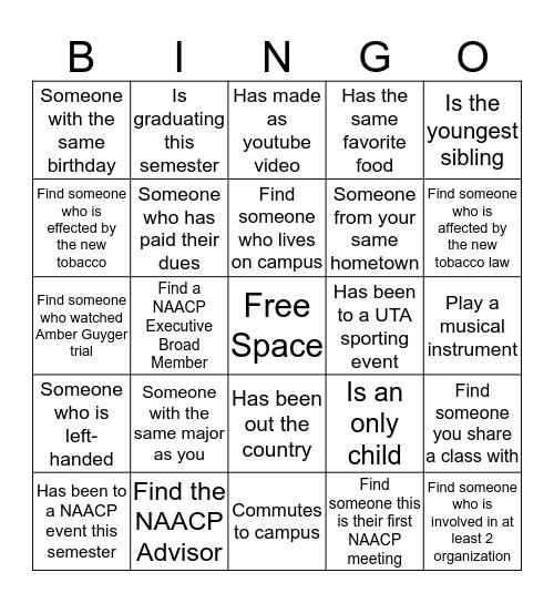 NAACP Human Bingo  Bingo Card