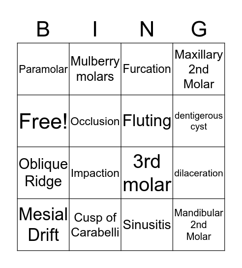 Tooth Bingo Card