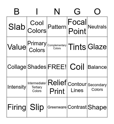 Introduction to Art Bingo Card