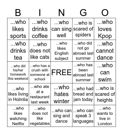 FIND SOMEONE Bingo Card