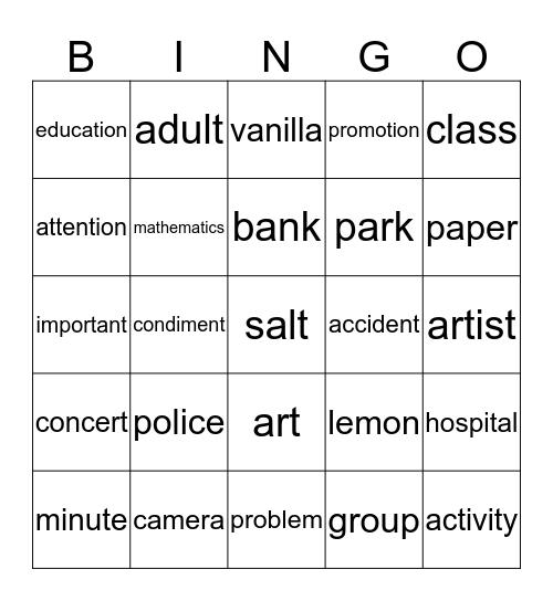 Cognados Bingo Card