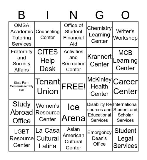 Campus Resources! Bingo Card