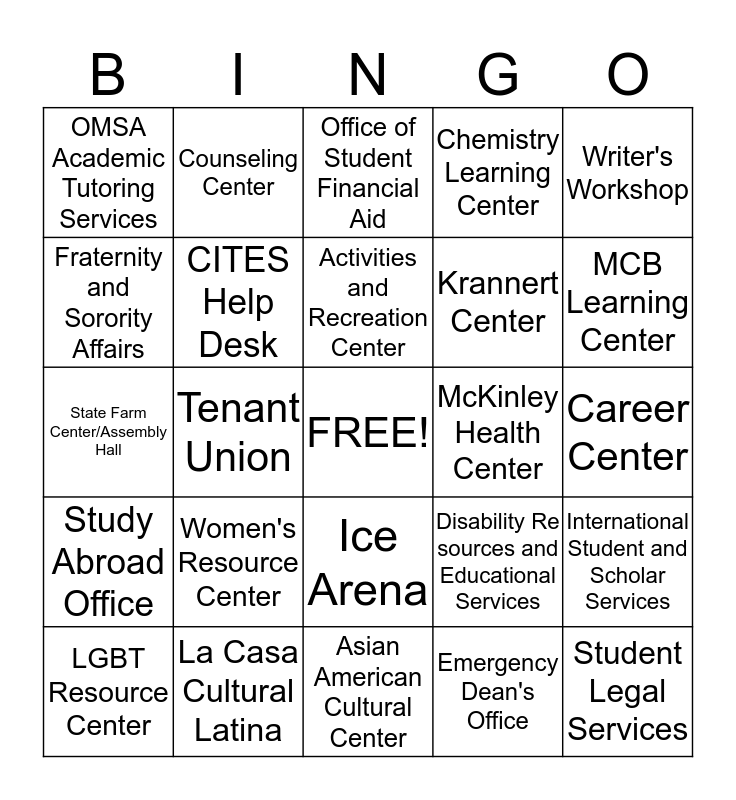 Campus Resources! Bingo Card