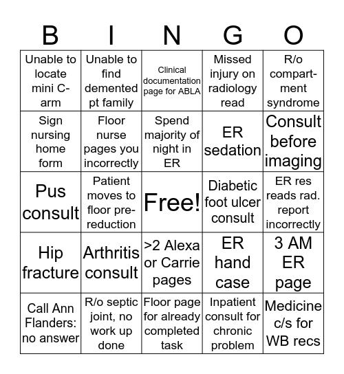 Borgess Call Bingo Card