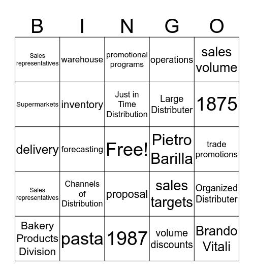 Barilla Pasta Bingo Card