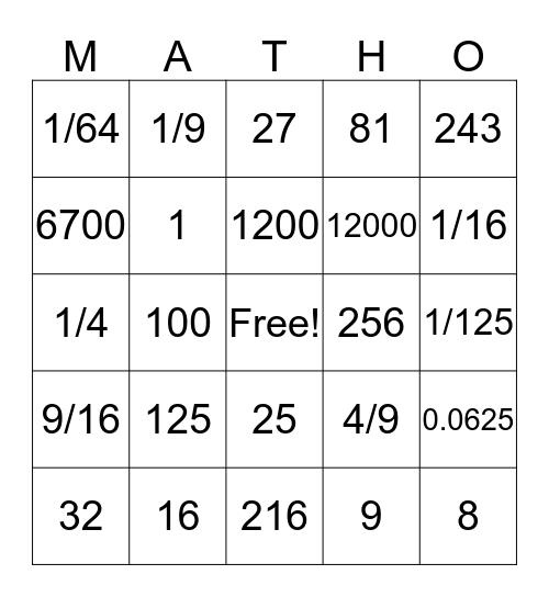 Exponent Bingo Card
