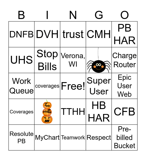 2019 Patient Accounting Week BINGO!!! Bingo Card