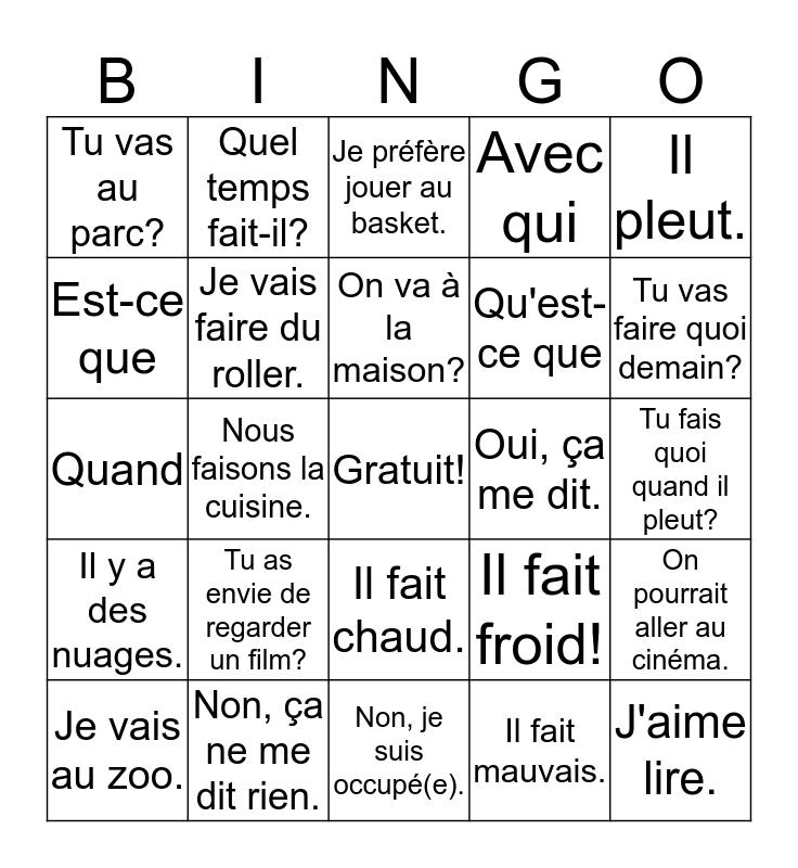 On y va? Bingo Card