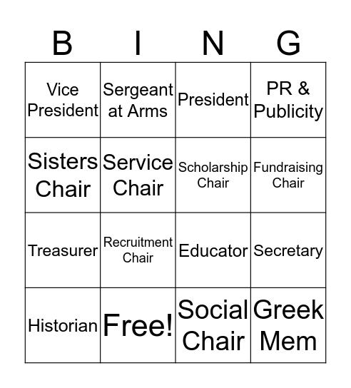 Chair Bingo Card