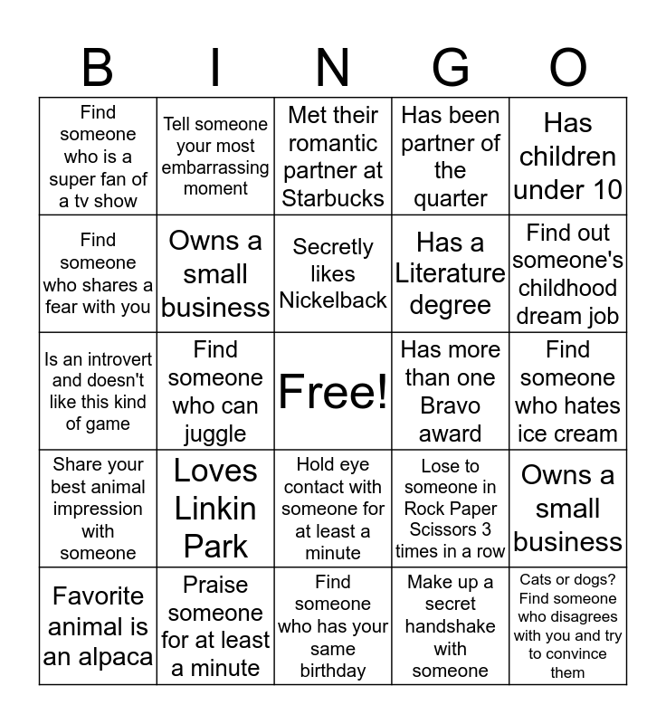Ops Services Bingo! Bingo Card