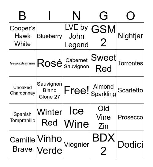 WINE-O Bingo Card