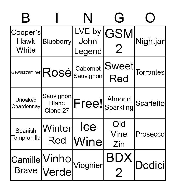 WINE-O Bingo Card