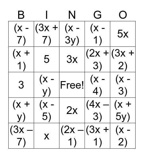 Factoring Bingo! Bingo Card