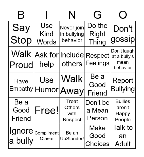 Be an UpStander! Bingo Card