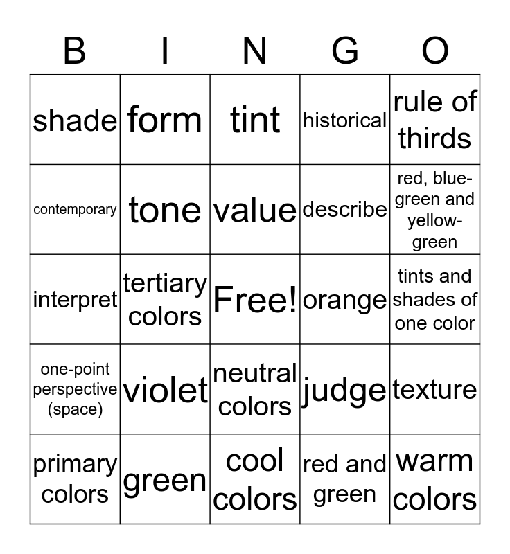 Color Theory Bingo Card