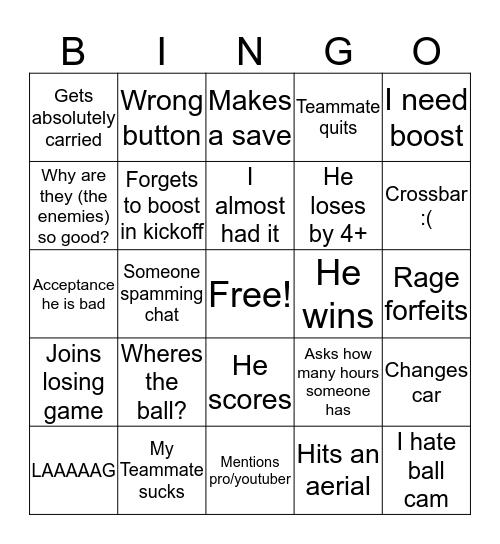 Matti Rocket League Bingo Card